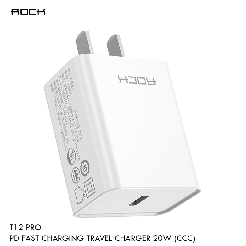 ROCK T12 Pro PD Single USB Port Travel Charger,Travel Charger, Charger , USB Phone Charger , Mobile Phone Charger , Smart Phone Charger , Andriod Phone Charger , Muti port usb charger , quick charger , fast charger  ,  wall charger , Pd Charger