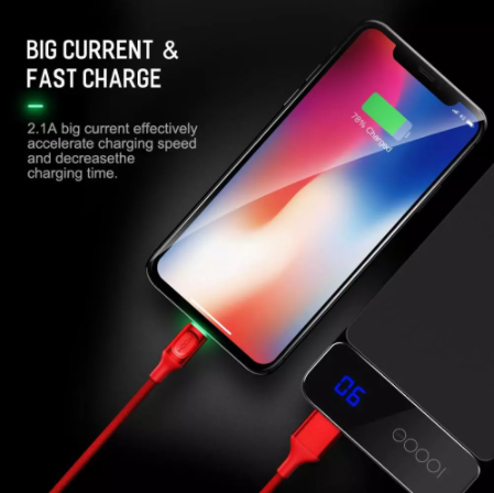 Auto Disconnect Data Lightning Cable For iPhone iPad IOS Fast Charging LED indicator Data Sync Cable 2.1A Fast Charger 1M