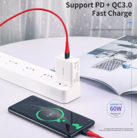 ROCK USB C to C 3A Z11 Hi-Tensile USB C to C 3A Charge & Sync Round Cable for Samsung Xiaomi LG Huawei,C TO C  Data Cable ,Type C to Type C Fast Charging Cable , USB C Cable , PD Cable , PD Port , C to C Cable