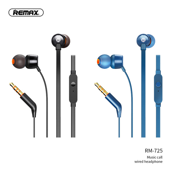 REMAX Wired Earphone RM-725,  Earphone,Wired Earphone ,Best wired earphone with mic ,Hifi Stereo Sound Wired Headset ,sport wired earphone ,3.5mm jack wired earphone ,3.5mm headset for mobile phone ,universal 3.5mm jack wired earphone,ကြိုးနားကြပ်,နားကြပ်