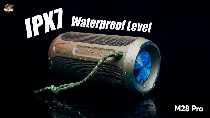 REMAX RB-M28 Pro Waterproof Bluetooth Speaker,Speaker,Bluetooth Speaker,Wireless Speaker,Desktop Speaker, Portable Speaker,Mini Bluetooth Speaker,wireless speaker for Phone,Computer ,Music,Tablet,Bluetooth Speaker with SD Card,Flash Drive,Aux,RGB