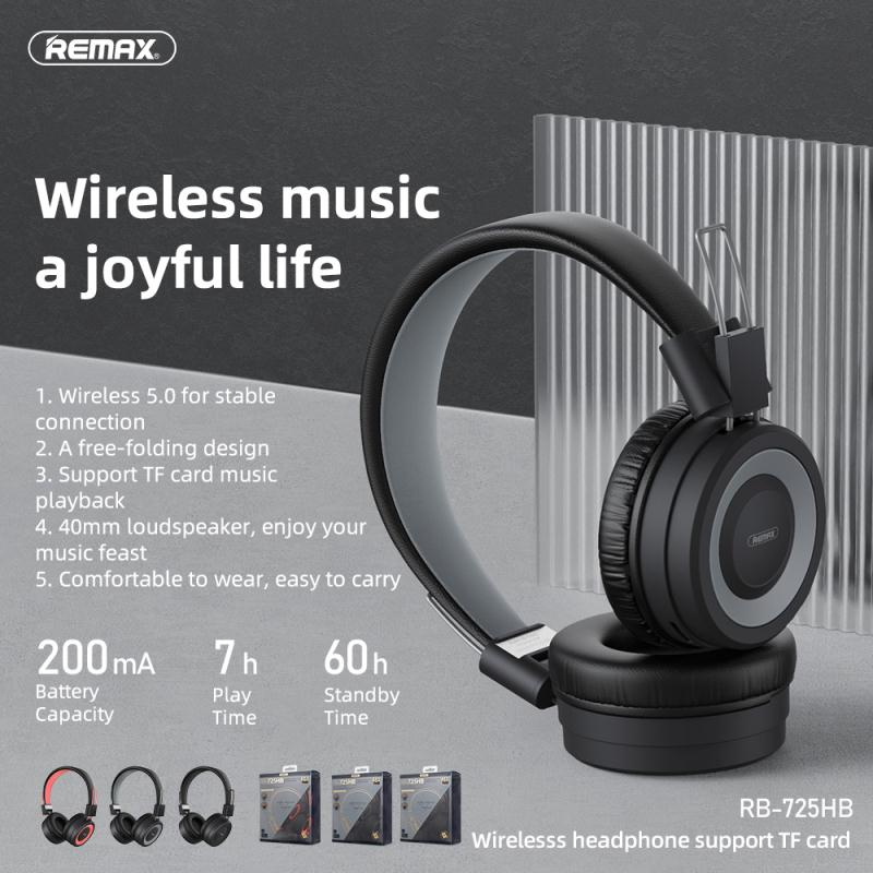REMAX RB-725HB WIRELESS HEADPHONE(Support TF Card) ,Bluetooth Headphone,Best Headphone,Wireless Bluetooth Headset,Headset Bluetooth Earphone,Noise Cancellation Headphone for work,studying ,sleeping, Wireless Headphone for Mobile Phone,IOS,Android,PC
