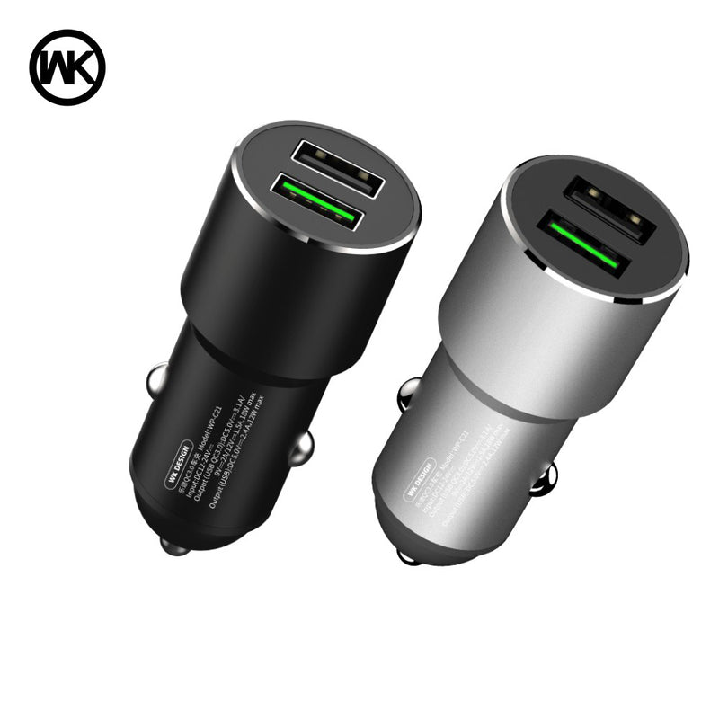 LETOR SERIES CAR CHARGER 2USB QC3.0 WP-C21 , Car Charger Adapter , cell phone car charger , USB Car Charger , Fast Car Charger , Car charger for Micro , iPhone , Type C , Lightning Car Charger , Android Car Charger , Cigarette Lighter iPhone Car Charger