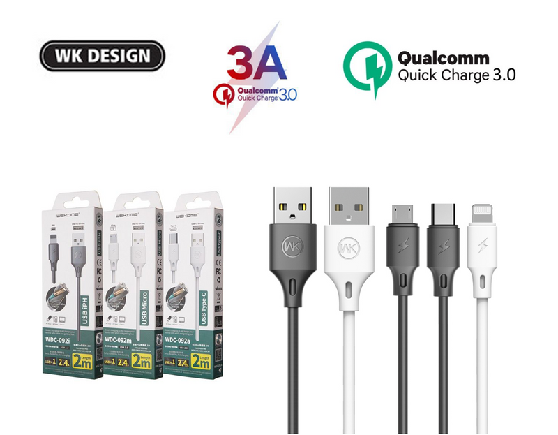 WK-WDC-092M MICRO FULL SPEED PRO DATA CABLE FOR MICRO 2.4A (1M) Cable , Micro Cable , Micro Charging Cable , Micro USB Cable , Android charging cable , USB Charging Cable , Data cable for Samsung , Huawei , Xiaomi