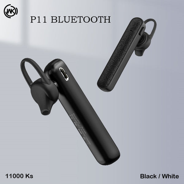 WK P11 Bluetooth Earphone , Single Bluetooth Earphone, Wireless Bluetooth Headset , Single Bluetooth Earbuds for music , Mono Bluetooth Headset , Best noise canceling Bluetooth Headset , Cheap Bluetooth Headset , ကြိုးမဲ့ဘလူးတုနားကြပ်