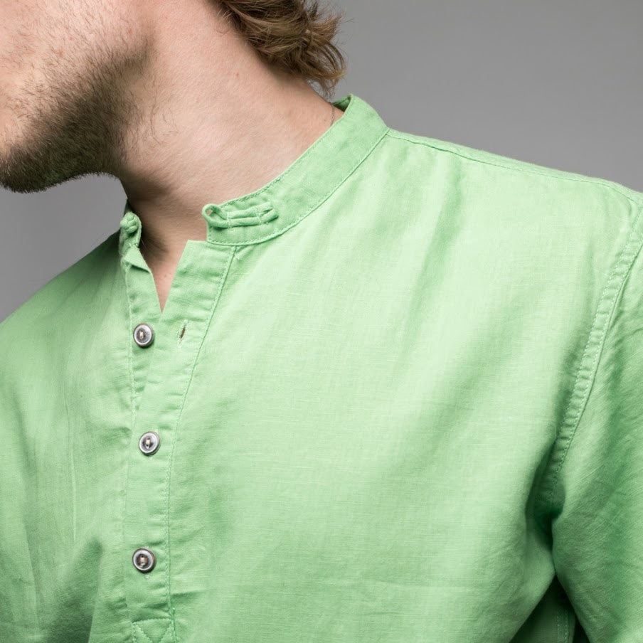 Nipkit Design - Mandarin Collar Linen Blend Shirt