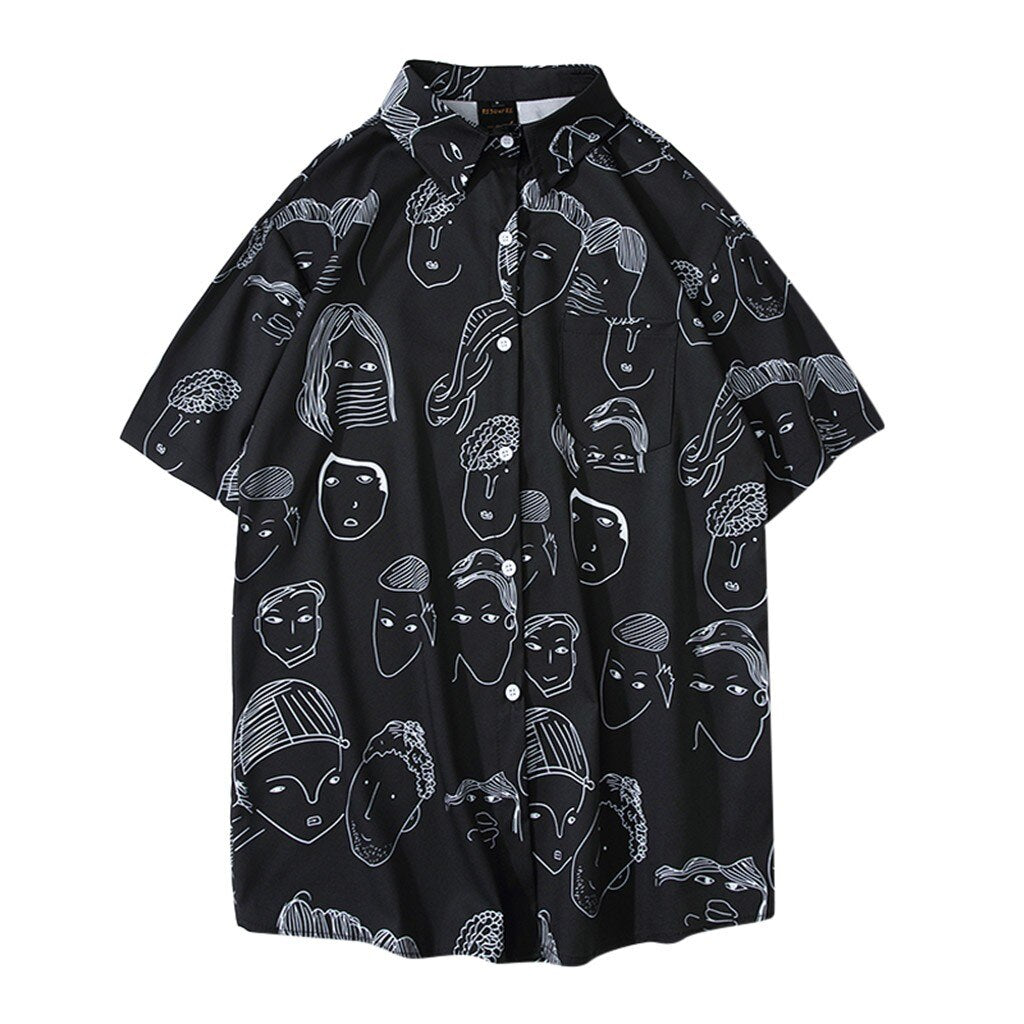 Cartoon Print Short Sleeve Shirt