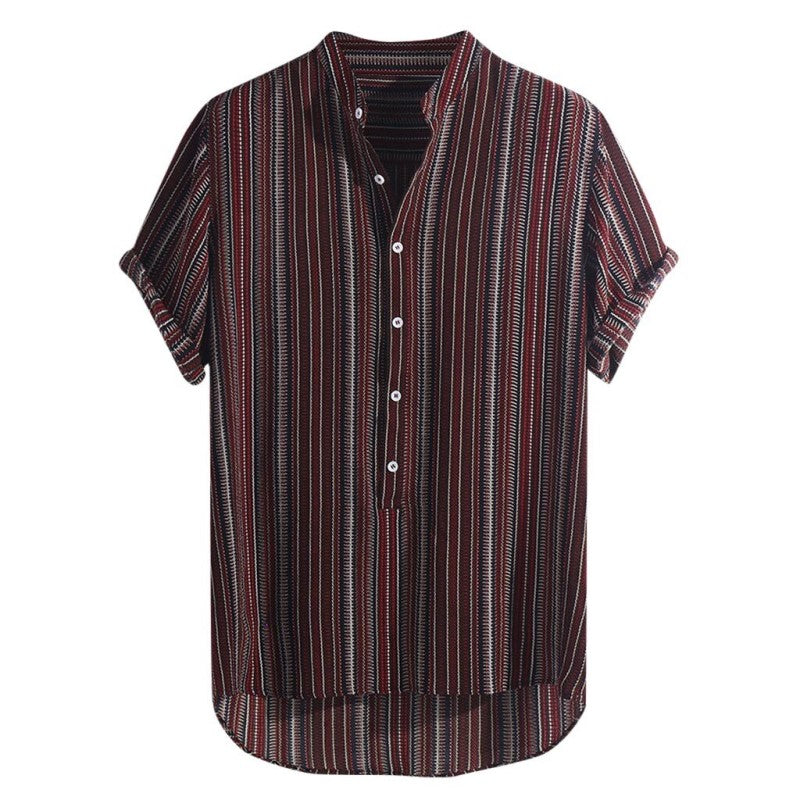 Breathable Striped Button Shirt