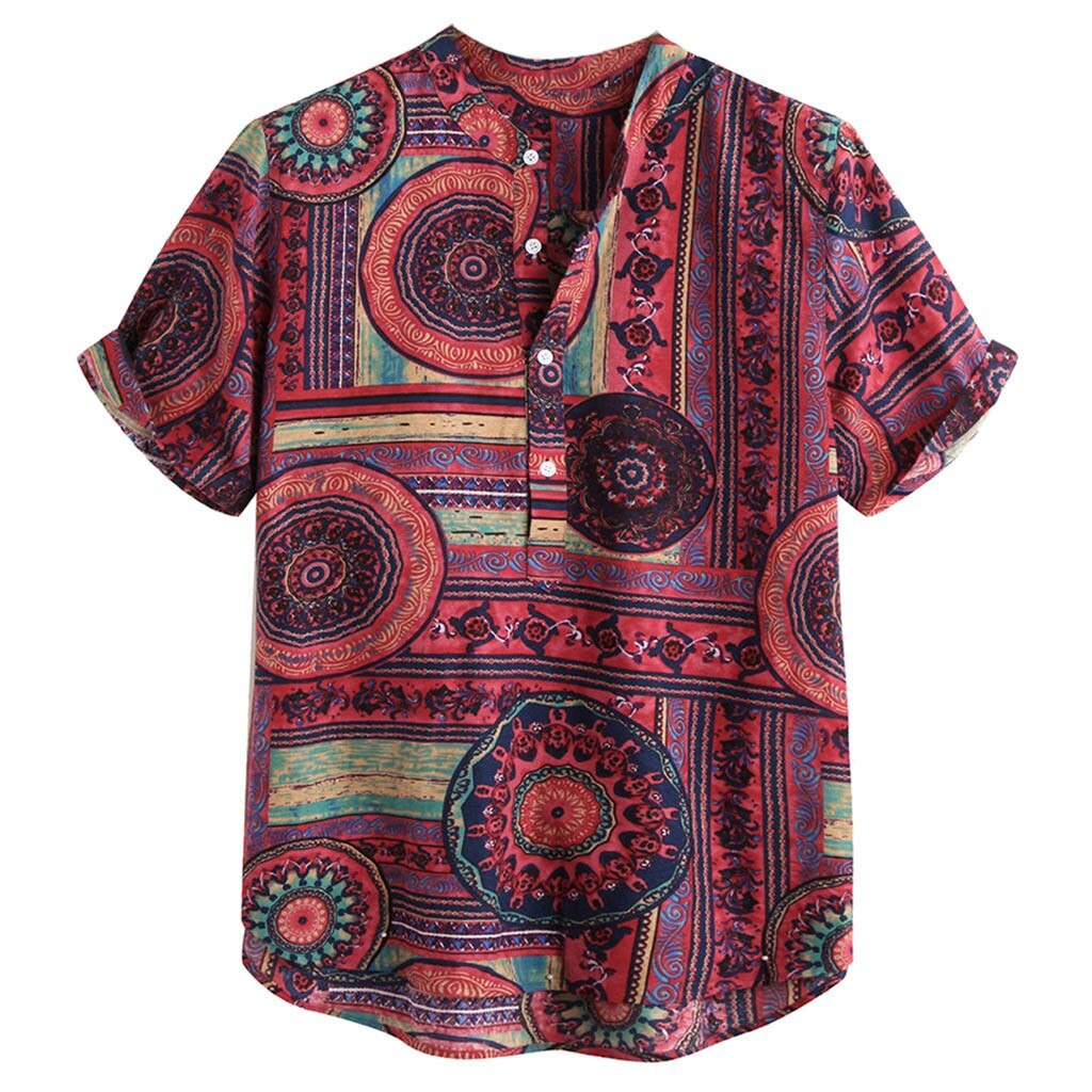 Printed Short Sleeve Linen Shirt