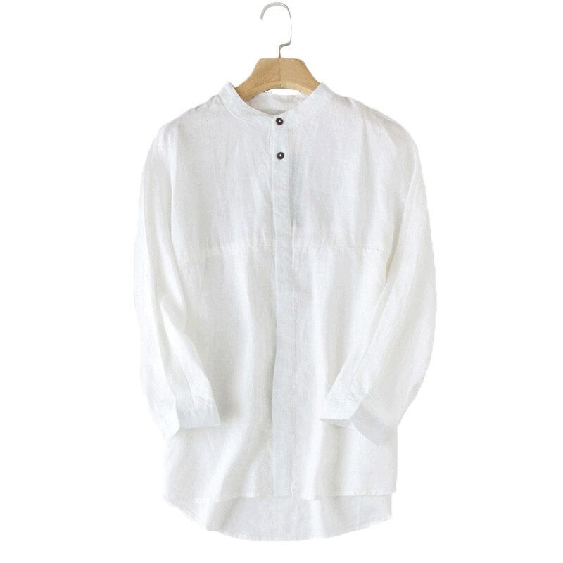 Solid Long Sleeve Linen Shirt