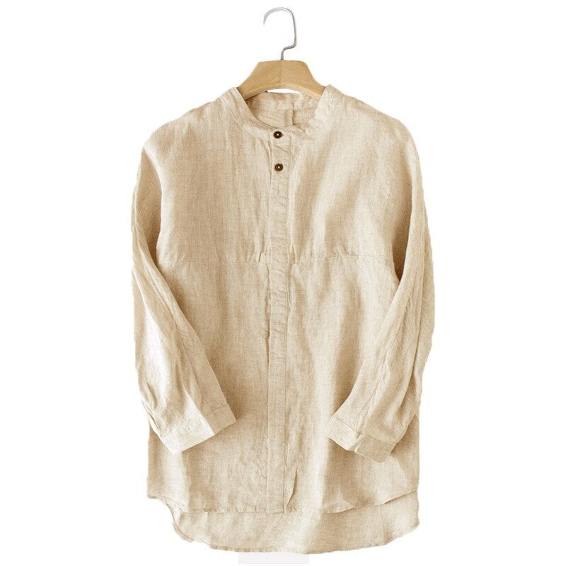 Solid Long Sleeve Linen Blend Shirt