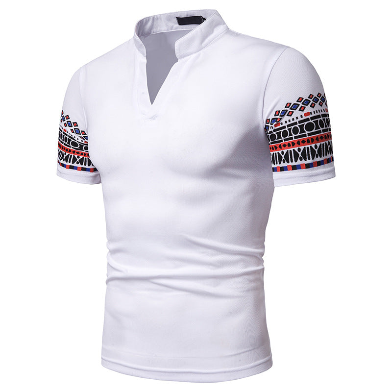 Ashton Mandarin Collared V-Neck Polo Shirt