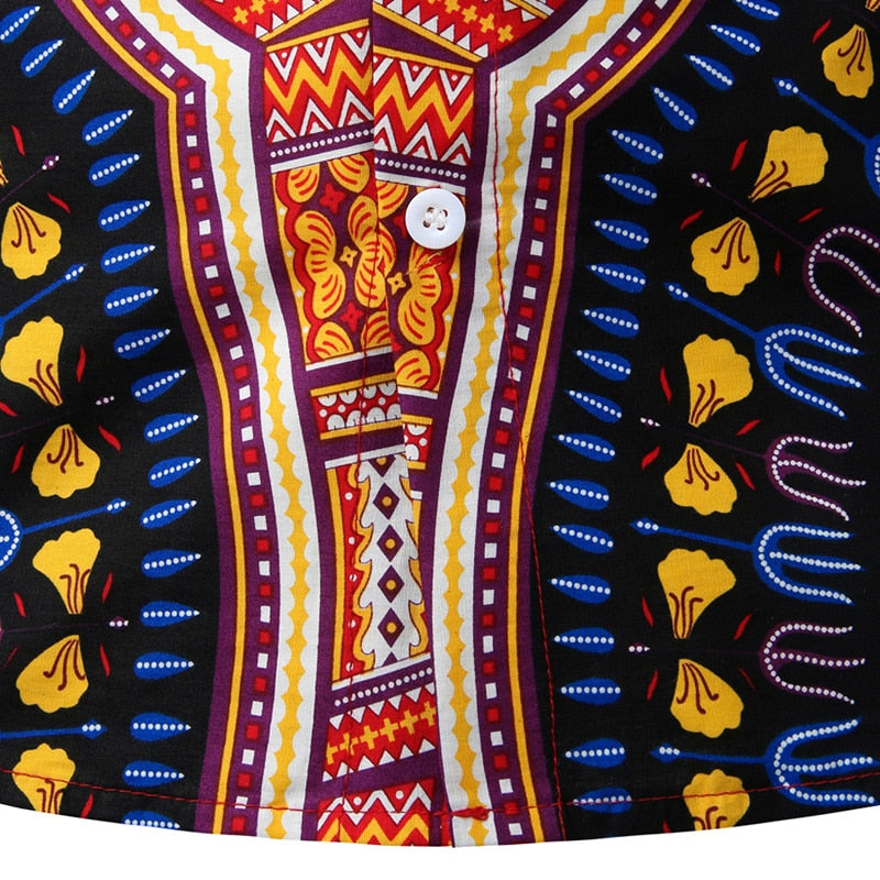 African Dashiki Button-Down Shirt