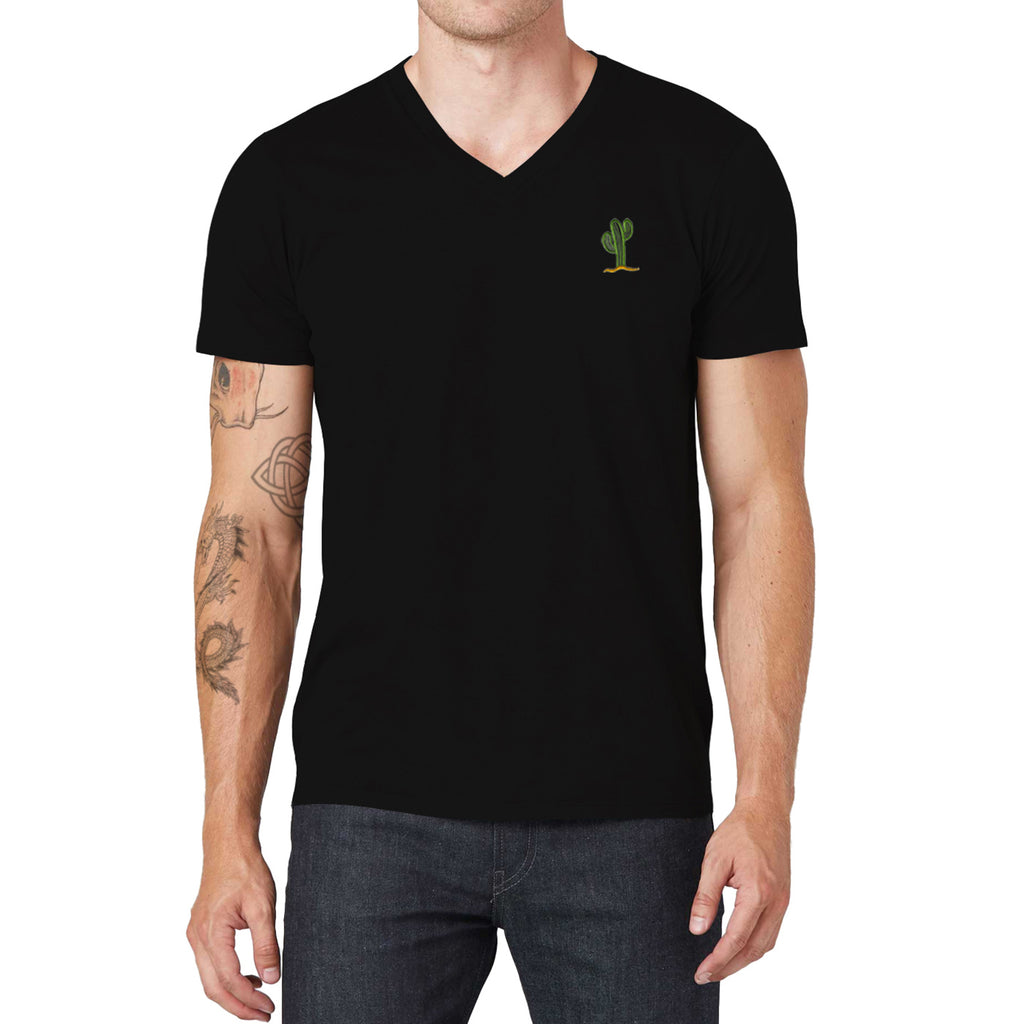 Cactus Embroidered V-Neck T-Shirt
