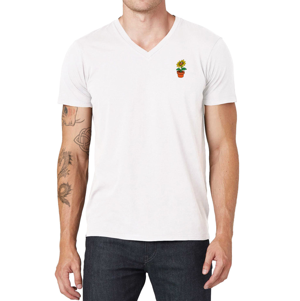 Flower Embroidered V-Neck T-Shirt