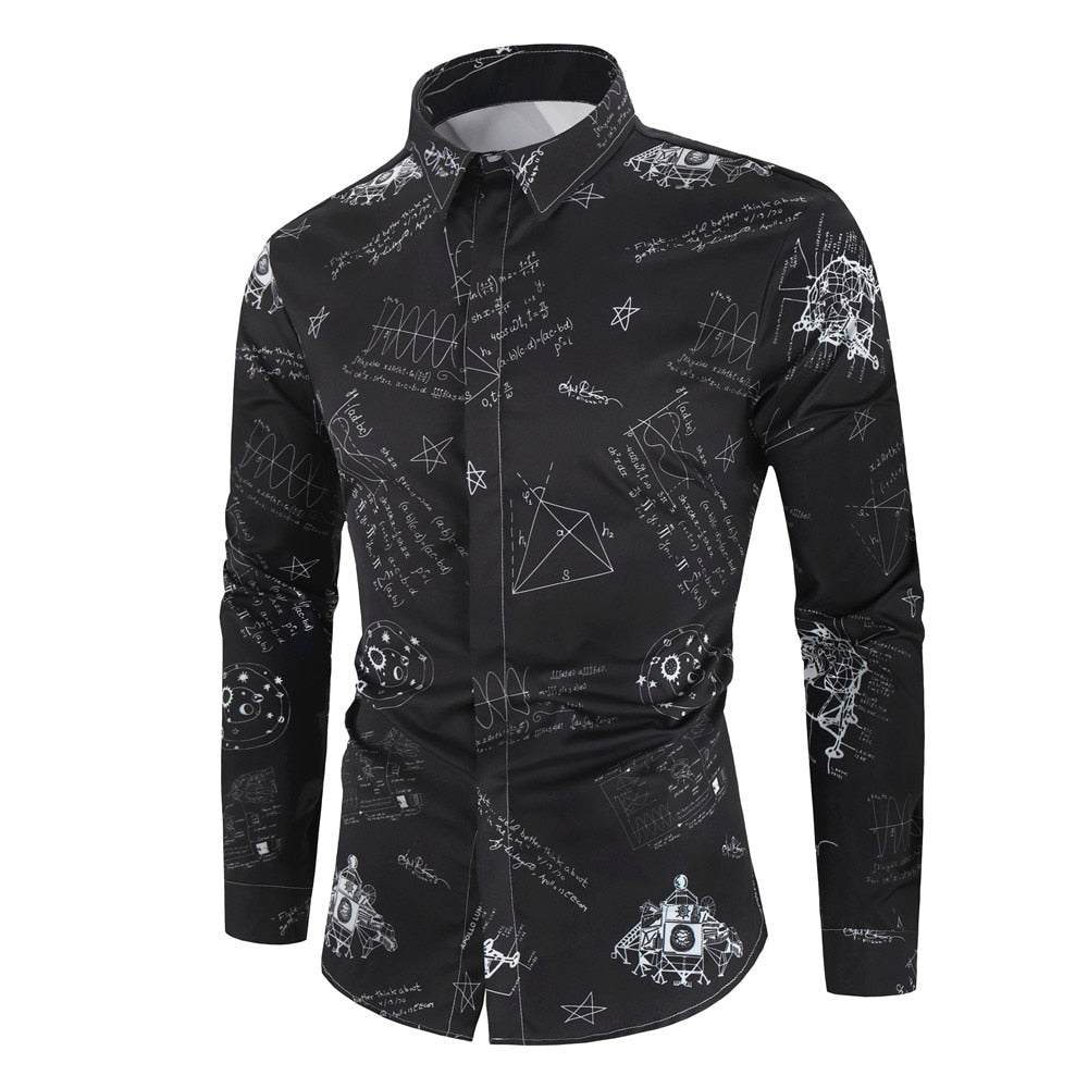 Mathematical Printed Button Shirt