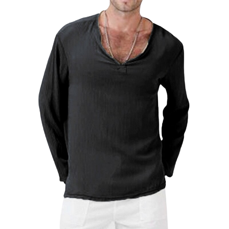 Baggy V Neck Linen Blend Shirt