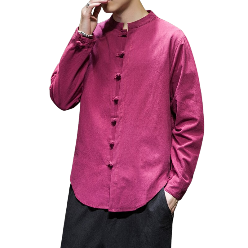Solid Color Long Sleeve Buttoned Shirt