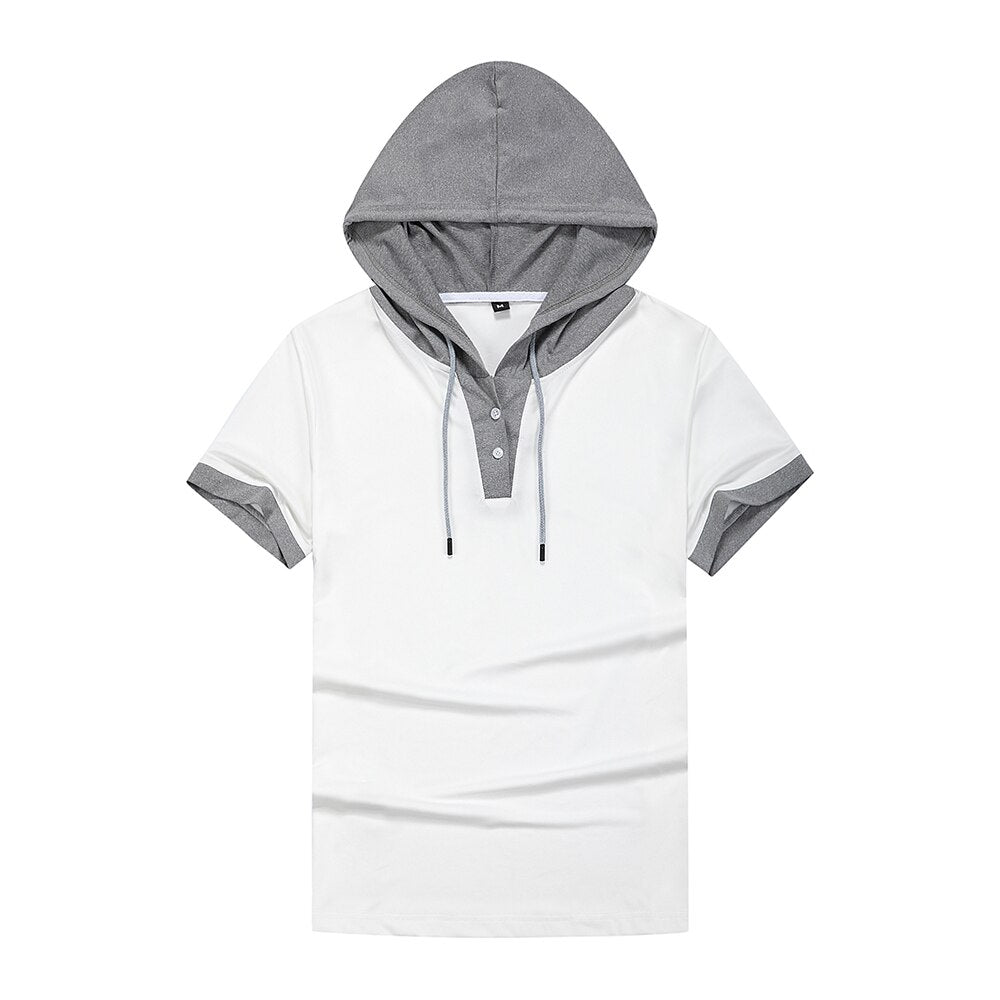 Color Matching Hooded T-Shirt