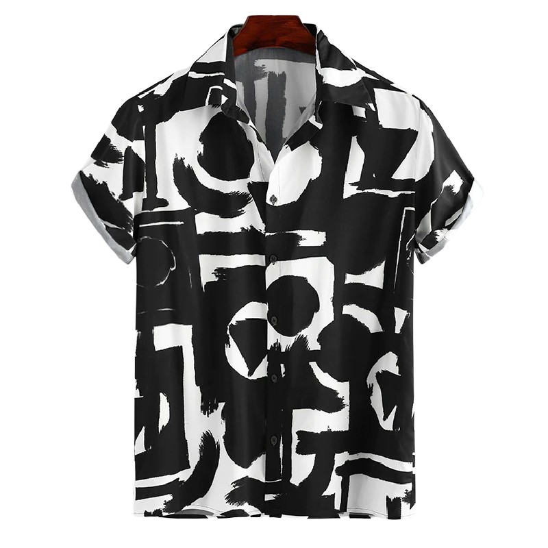 Patterned Loose Button Shirt