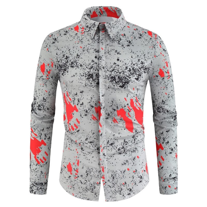 Abstract Designed Button Shirt