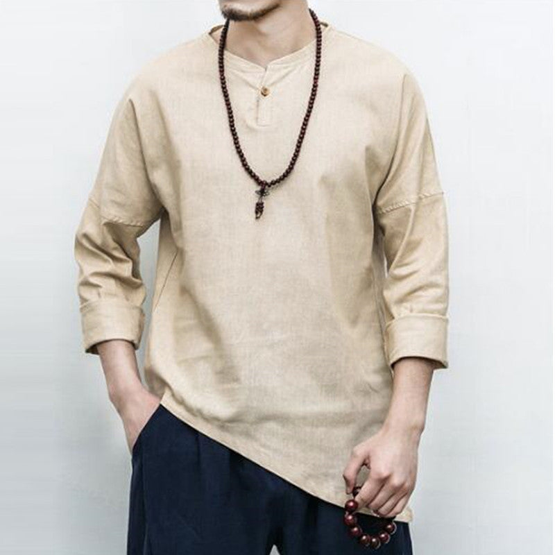 Lightweight Long-Sleeve Linen Henley