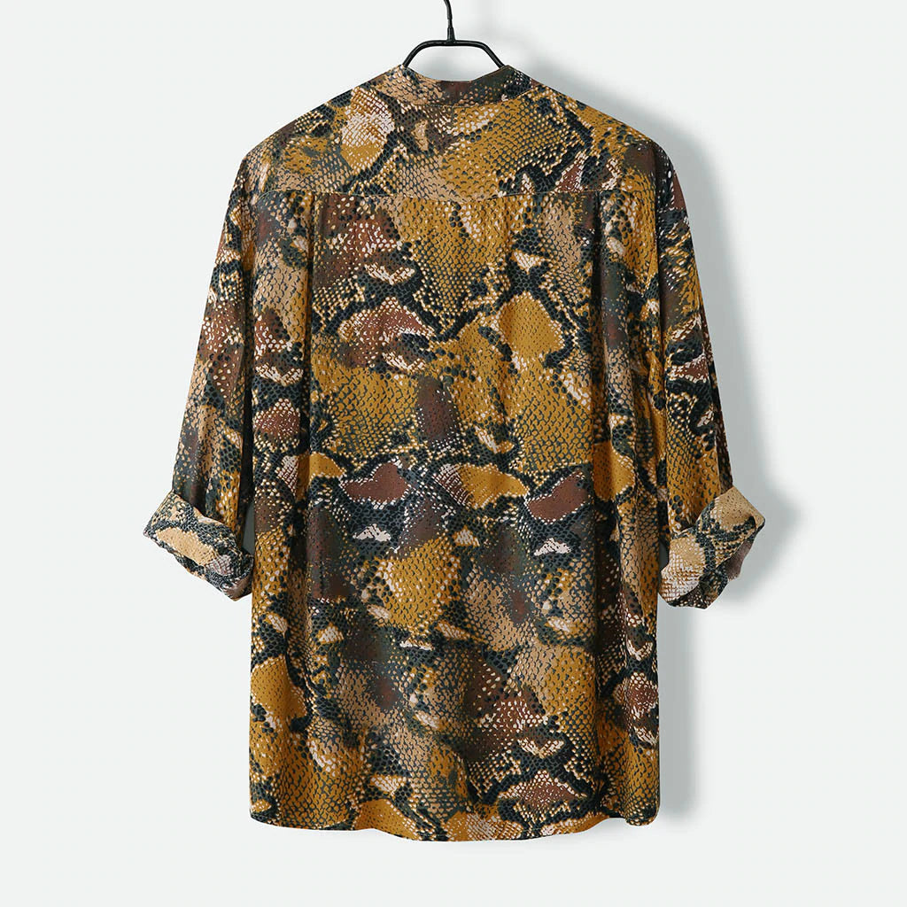 Snakeskin Print Button-Down Shirt