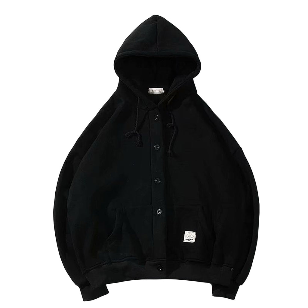 Casual Baggy Button-Up Hoodie