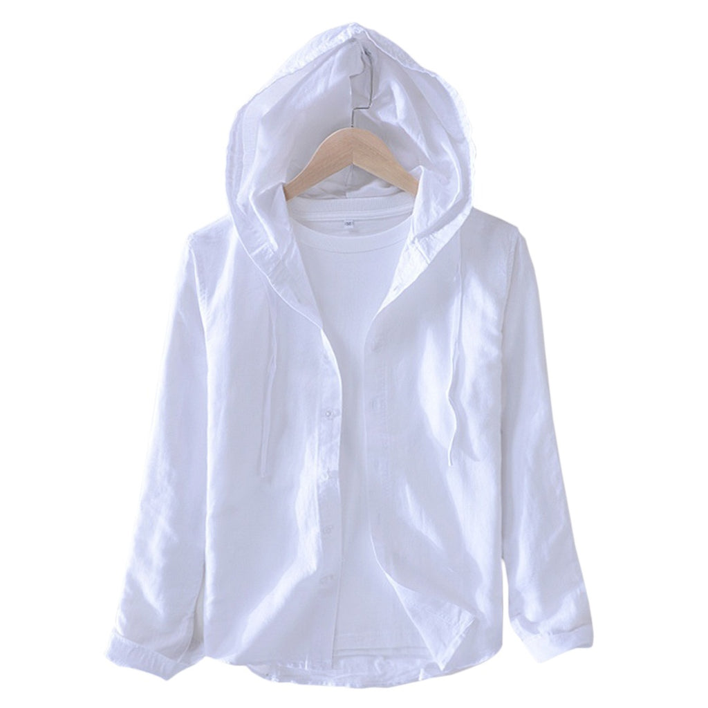 Hensley Linen Blend Hooded Shirt