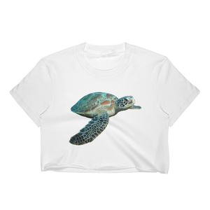 Sea-Turtle Print Women's Crop Top