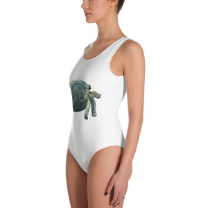 Galapagos-Giant-Turtle Print One-Piece Swimsuit