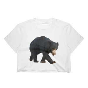 Sloth-Bear Print Women's Crop Top