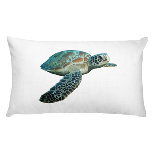 Sea-Turtle Print Rectangular Pillow