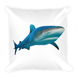 Great-White-Shark Print Square Pillow