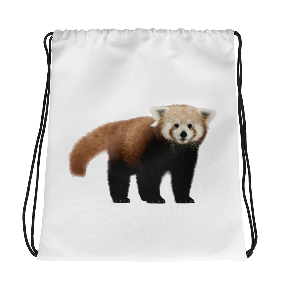 Red-Panda Print Drawstring bag