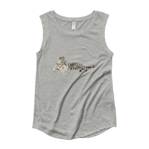 White-Tiger Ladies‰۪ Cap Sleeve T-Shirt