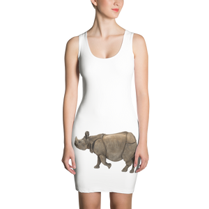 Indian-Rhinoceros Print Sublimation Cut & Sew Dress