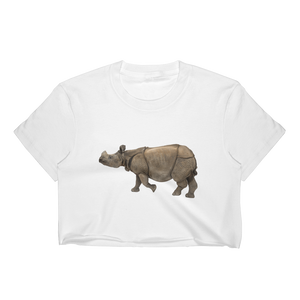 Indian-Rhinoceros Print Women's Crop Top