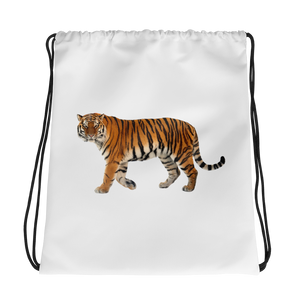Siberian-Tiger Print Drawstring bag