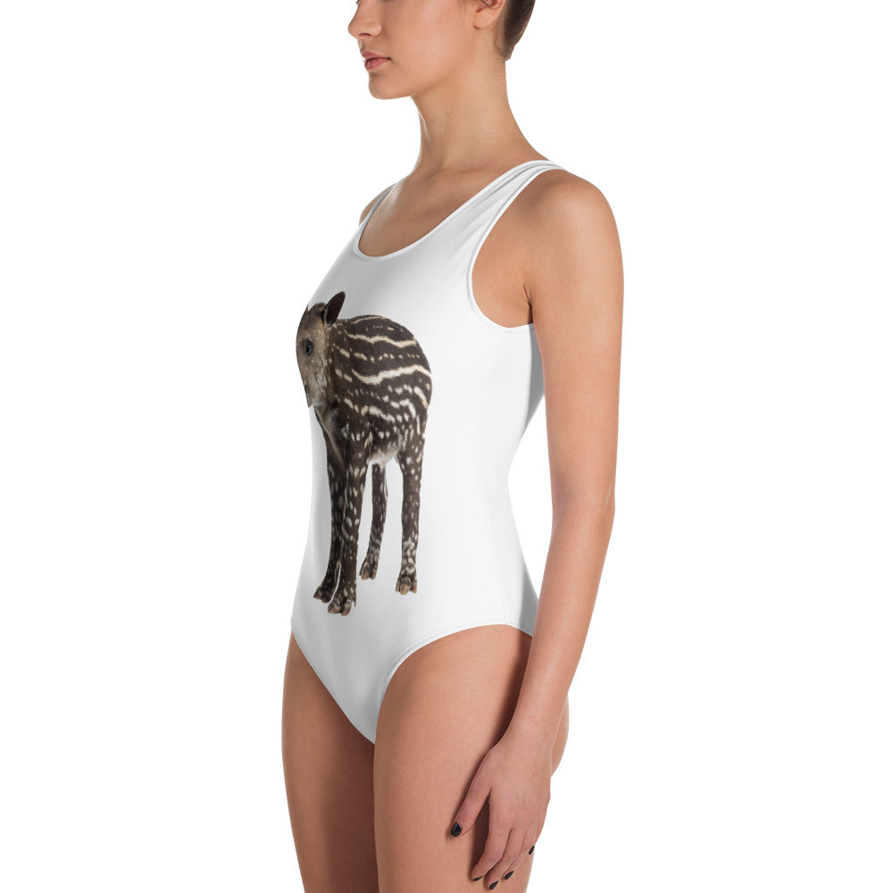 Tapir Print One-Piece Swimsuit