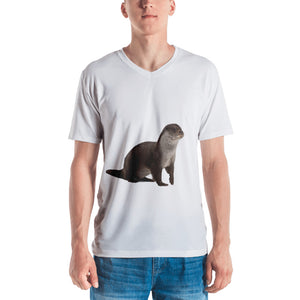 European Otter Print Men's V neck T-shirt