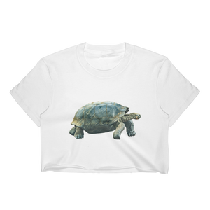 Galapagos-Giant-Turtle Print Women's Crop Top