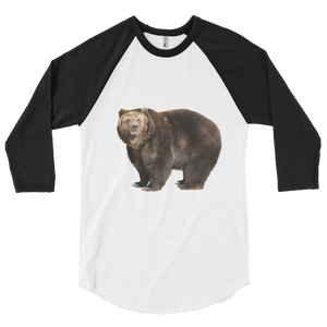 Brown-Bear Print 3/4 sleeve raglan shirt
