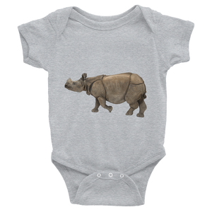 Indian-Rhinoceros Print Infant Bodysuit