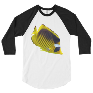Butterfly-Fish Print 3/4 sleeve raglan shirt