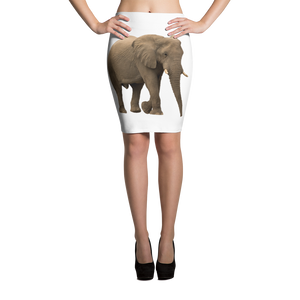 African-Forrest-Elephant Print Pencil Skirt