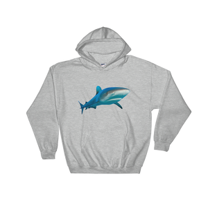 Great-White-Shark Print Hooded Sweatshirt