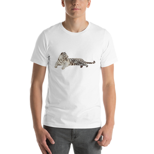 White Tiger Print Short-Sleeve Unisex T-Shirt