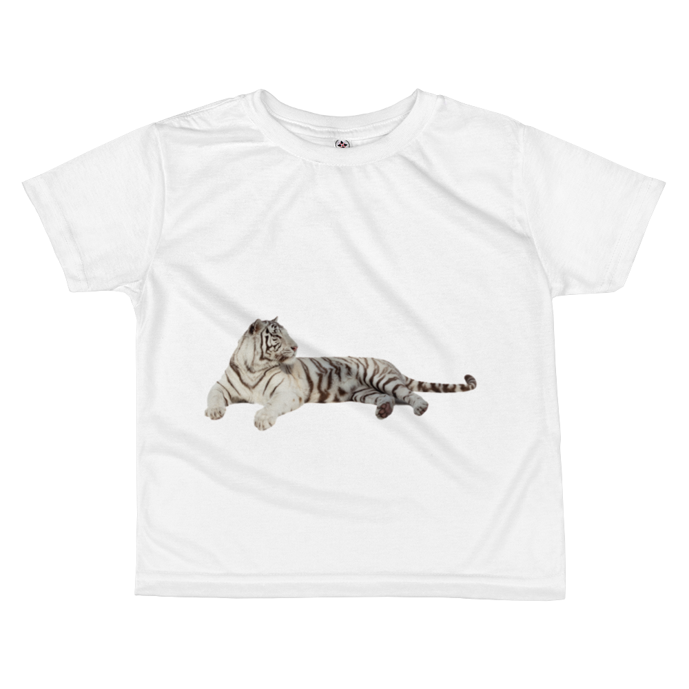 White-Tiger Print All-over kids sublimation T-shirt