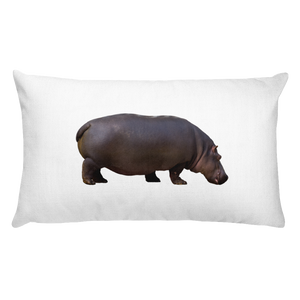 Hippopotamus Print Rectangular Pillow